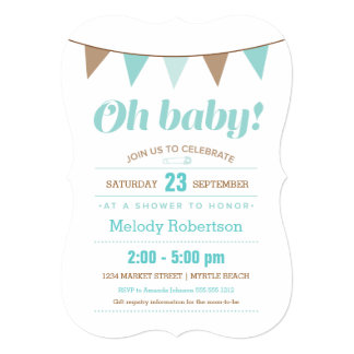 Blue bunting baby shower invitation