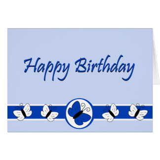 Blue Butterflies Happy Birthday Note Card