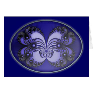 Blue Butterfly Fractal 200706070030 Note Card