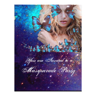 BLUE BUTTERFLY IN TEAL GREEN GOLD SPARKLES FLYER DESIGN