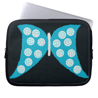 Blue Butterfly on Black Laptop Sleeve