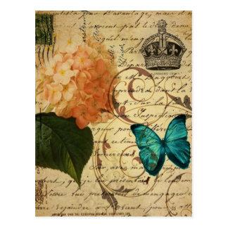 blue butterfly paris scripts french botanical postcard