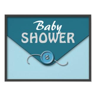Blue Button Envelope Baby Shower Invitations