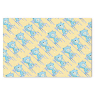 Blue Calico Bear Smiling on Chair Tissue Paper