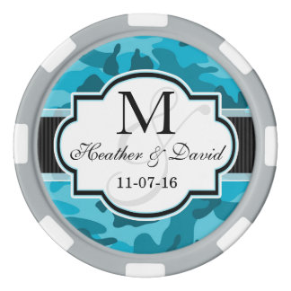 Blue Camo, Camouflage Wedding Poker Chip Set