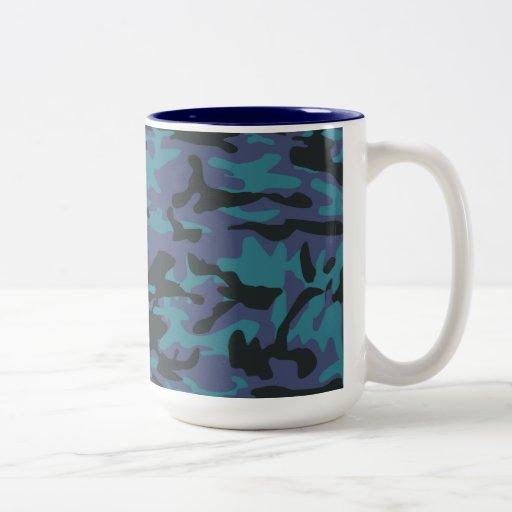 Blue camo pattern mugs
