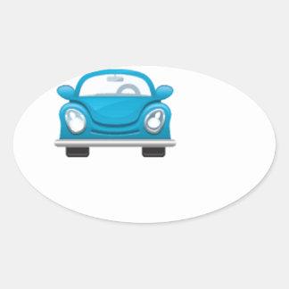 Blue car oval sticker
