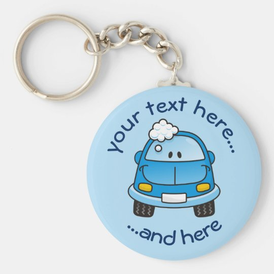 Blue car with bubbles basic round button key ring