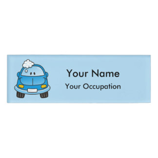 Blue car with bubbles Name Tag
