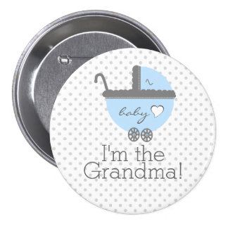 Blue Carriage-Baby Shower Grandma Buttons
