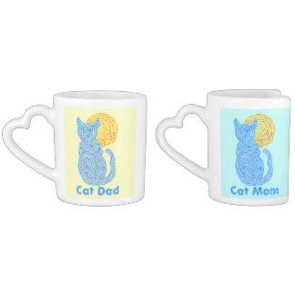 Blue Cat And The Moon Cat Mom & Dad Nesting Mugs Lovers Mug Set