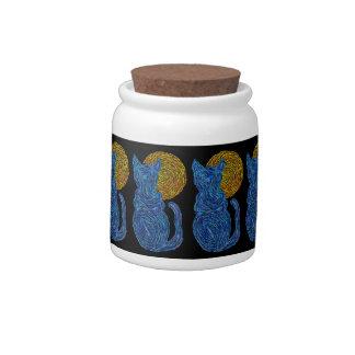 Blue Cat Moon Abstract Art Zen Snack Treats Jar Candy Jars