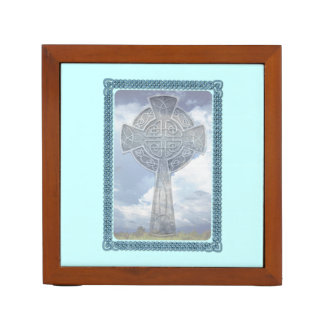 Blue Celtic Cross And Clouds Desk Organiser