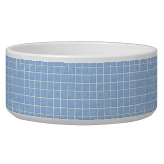 Blue Ceramic Tiles Look Pet Bowl
