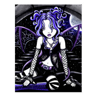 Blue Chained Gothic Fairy Art Postcard