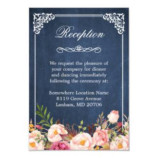 Blue Chalkboard Rustic Floral Wedding Reception 9 Cm X 13 Cm Invitation Card