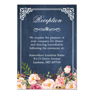 Blue Chalkboard Rustic Floral Wedding Reception Card