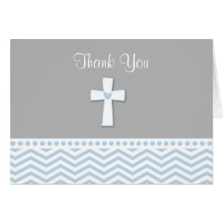 Blue Chevron Folded Thank You Note Cards for Boys