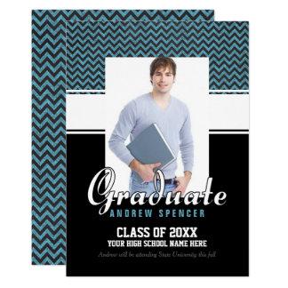 Blue Chevron Graduation Photo Announcement