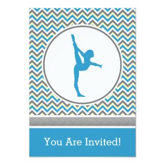 Blue Chevron Gymnast Party Invitation