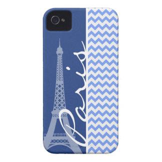 Blue Chevron; Paris iPhone 4 Cover
