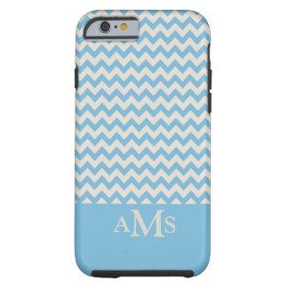 Blue Chevron Stripe 3 Monogram Tough iPhone 6 Case