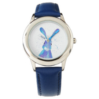 Blue Childrens watch with a cute blue hare