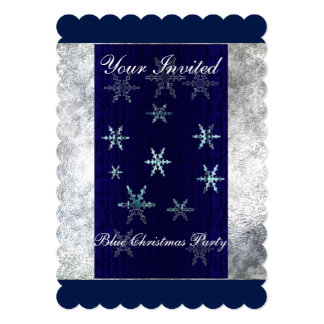 Blue Christmas Party 5x7 Invitation Scalloped
