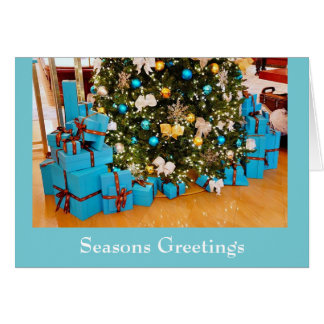 Blue Christmas Seasons Greetings Christmas Card
