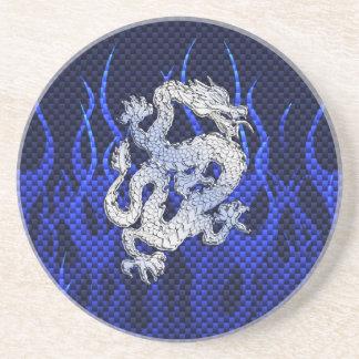 Blue Chrome like Dragon Carbon Fiber Style Coaster