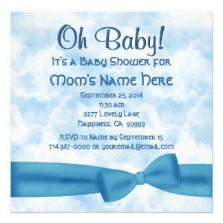 Blue Clouds Bow and Leopard Baby Boy Shower Custom Invite