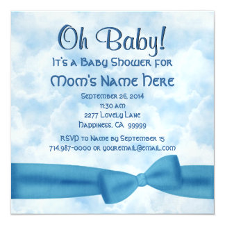 "Blue Clouds Bow and Leopard Baby Boy Shower M087 5.25"" Square Invitation Card"