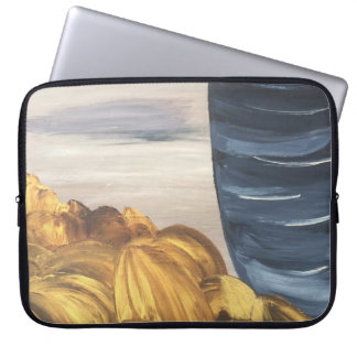 Blue Coffee Mug & Beans Laptop Sleeve