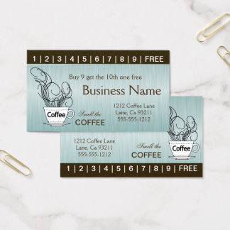 Blue Coffee Punch Cards on Both Sides