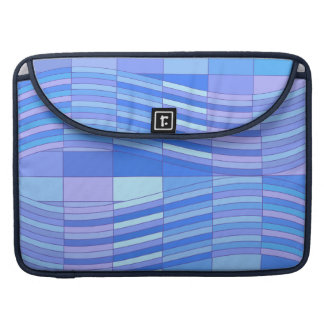 Blue Colors Wavy Rectangles Sleeve For MacBook Pro
