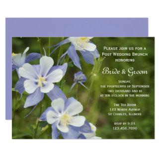 Blue Columbine Flowers Post Wedding Brunch Invite