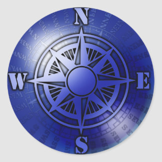 Blue compass rose round stickers