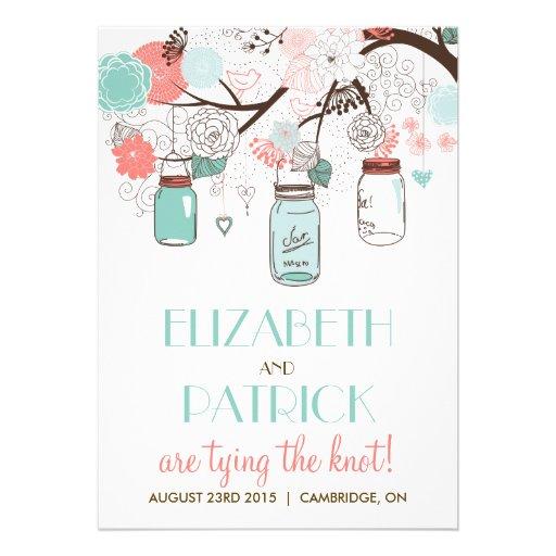 Blue & Coral Mason Jars Floral Wedding Invitation