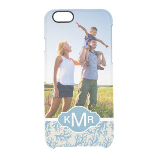 Blue Coral Pattern| Your Photo & Monogram Clear iPhone 6/6S Case