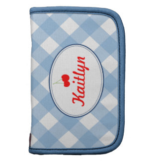 Blue country gingham pattern red cherry personal organizers