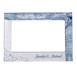 Blue country lace on burlap magnetic frame