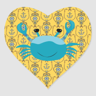 Blue Crab on Nautical Anchor Heart Sticker
