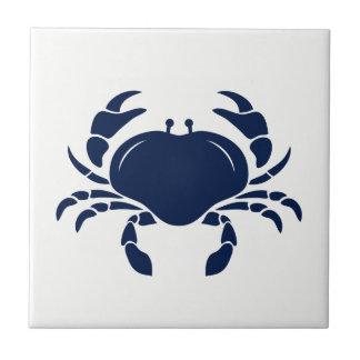 Blue Crab on White Ceramic Tile
