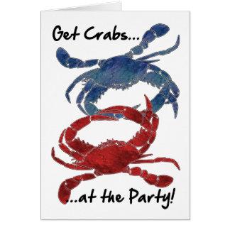 Blue Crab Red Crab Crab Feast Card