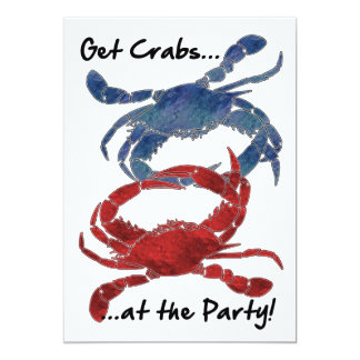 Blue Crab Red Crab Crab Feast 13 Cm X 18 Cm Invitation Card