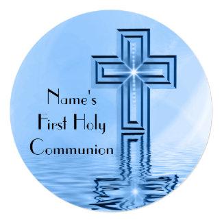 Blue Cross First Holy Communion Invitation