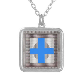 BLUE Cross Sparkle White Crystal Beads Gifts chr Personalized Necklace