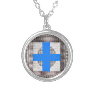 BLUE Cross Sparkle White Crystal Beads Gifts chr Necklace