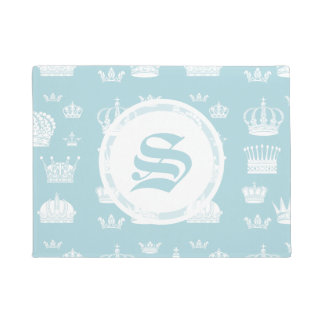 Blue Crown Custom Initial Doormat