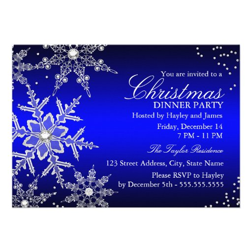 Blue Crystal Snowflake Christmas Dinner Party Personalized Invitation